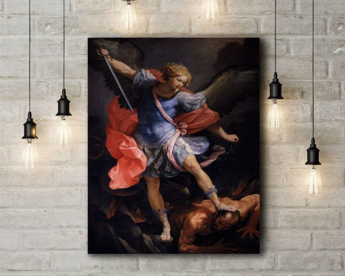 Guido Reni: The Archangel Michael Defeating Satan. Fine Art Canvas.